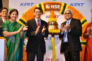 Mr. Ravi Pandit- Chairman - KPIT Technologies, Mr. Kishor Patil , CEO, KPIT Technologies, Ms. Ishita Vora Head- Primary Markets, NSE after the ringing the bell ceremony